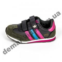 Детские кроссовки Adidas микропора серо-розовая