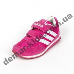 Детские кроссовки Adidas микропора малиново-белые