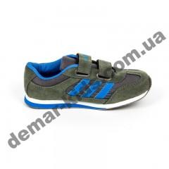 Детские кроссовки Adidas микропора серо-синие