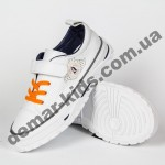 Детские кроссовки кеды Apawwa VC75-1 WHITE бело-оранжевые 31-36