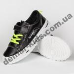 Детские кроссовки кеды Apawwa VC72-1 BLACK черно-зеленые 25-30