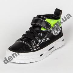 Детские кроссовки кеды Apawwa VQ71-1 BLACK черно-зеленые 31-36