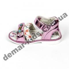 Детские голографические босоножки BBT розовые цветы