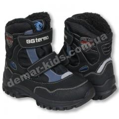 Детские термоботинки B&G Termo черно-синие большие