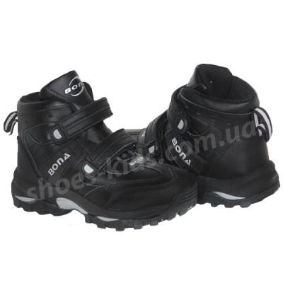 Детские кожаные термоботинки BONA 003 (черно-серые)