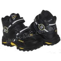 Детские кожаные термоботинки BONA 002 (черно-желтые)