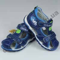 Детские кожаные ортопедические босоножки Clibee сине-голубые