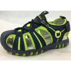 Детские босоножки ТОМ.М черно-зеленые закрытый носок