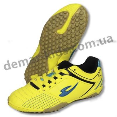 Детские футбольные сороконожки Lancast желто-синие new 2016