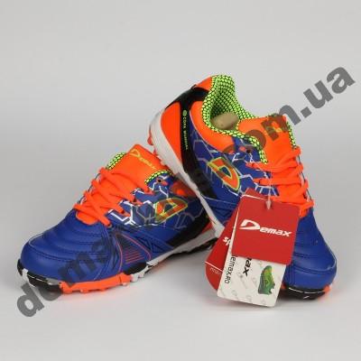 Детские футбольные сороконожки Demax сине-оранжевые