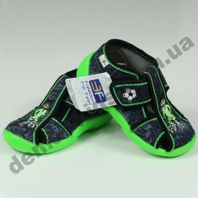 Детские тапочки 3F Fredom For Feet ŻABKA 2B5/8 серо-зеленые