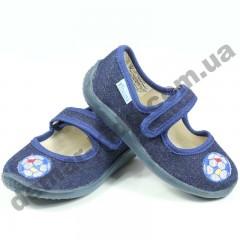 Детские тапочки Vitaliya джинсовые синие мячик