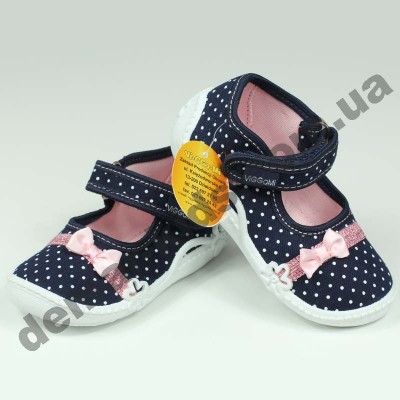 Детские тапочки Wiggami сине-розовые мелкий горошек бантик