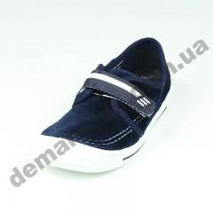 Детские тапочки 3F сине-белые замш липучка