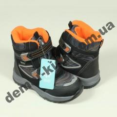Детские термоботинки Bi&Ki черно-оранжевые