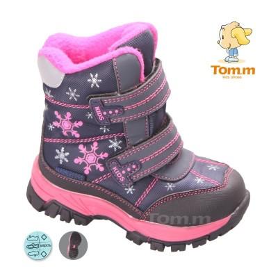 Детские термоботинки Том М фиолетово-розовые маленькие ( снежинки )