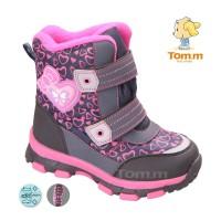 Детские термоботинки Том М фиолетово-розовые средние ( сердечки )