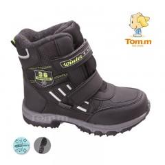 Детские термоботинки Том М черно-зеленые большие ( 36 )