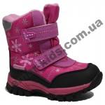 Детские термоботинки Том М розовые маленькие ( снежинки )