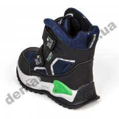 Детские термоботинки Том М C-T9414-B черно-зеленые 27-32