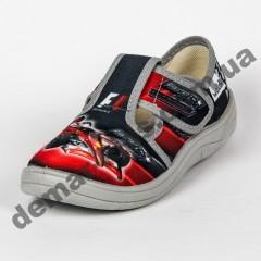 Детские тапочки Waldi серо-красные F1 машинки 24-30