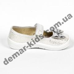 Детские тапочки Waldi блестящие светло-серебряные бантики