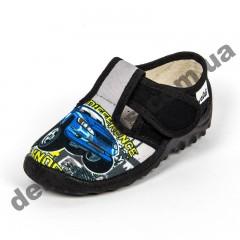 Детские тапочки Waldi черные машинки синие