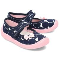 Детские тапочки Wiggami горошки синие-розовые шарики бантики