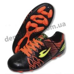 Детские футбольные бутсы Lancast черно-оранжевые