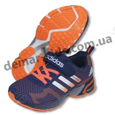 Детские кроссовки Adidas Marathon flyknit сине-оранжевые-2