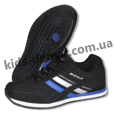 Детские кроссовки Bona черно-сине-серые ( нубук ) 003
