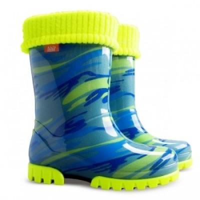 Резиновые сапоги DEMAR TWISTER LUX FLUO d ( мозаика голубо-желтая )